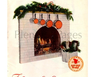 1951 Revere Ware Vintage Ad, Stainless Steel Copper Clad Pots, 1950's Cookware, Advertising Art, Fireplace, Christmas Mantle, 1950's Cooking