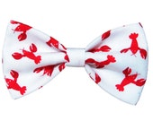 Red Lobster Bow Tie - Boys Clip on Bow Tie - Cat Accessory - Dog Bowtie - Hair Clip - Nautical Wedding Self Tie