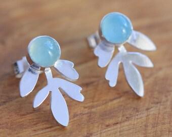 Silver Stud Earrings Inspired by Lavender Leaves - Small Silver Earrings - Small Stud Earrings