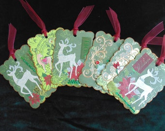 CLEARANCE!! Christmas Reindeer Games Gift Wrap Ornaments Scrapbooking Tags 6 in Package