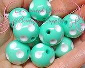 20mm Mint Green With White Dip Polka Dots Qty 10, Chunky Beads, Gumball Beads, Bubblegum Beads, Chunky Jewelry Beads, Acrylic Beads