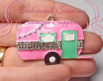 48mm Pink and Aqua Camp Trailer, Rhinestone and Enamel Pendant, Zipper Pull, Keychain, Chunky Jewelry, Summer Fun, Camping Theme