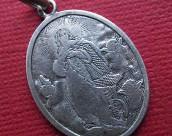 Virgin Mary With Angels Antique French Silver Religious Medal Pendant  Dated 1896  SS214
