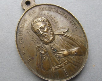 Antique French Blessed Peter Fourier De Mattaincourt Religious Medal Pendant Dated 1853   SS43