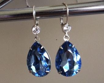 Vintage Glass Foil Back Light sapphire crystal with Sterling silver, Dangle, Drop, Something Blue, Sapphire Blue, September birthstone