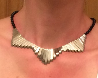 Hematite and Onyx Graduated Necklace