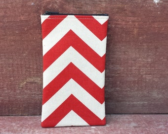 Eyeglasses Zipper Pouch Red Chevron Handmade in Iowa