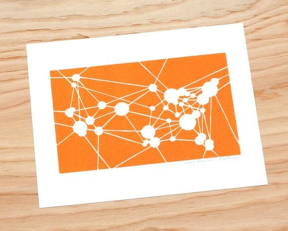 Flight Attendant, Pilot Gift, Linocut, US Map Art Print, Aviation Art, Map of America, USA Map Print, Mid Century Modern (Tangerine)