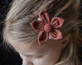 Hair Bow - Rust Calico Fabric Flower