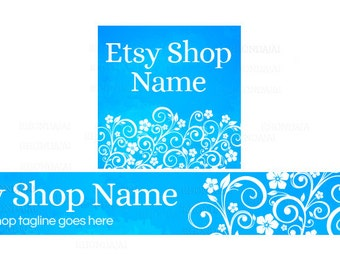 Etsy Shop Banners - Etsy Banners - Floral Etsy Banners - Blue Etsy Shop Banners - Etsy Banner Sets - 2 Piece - 5-16