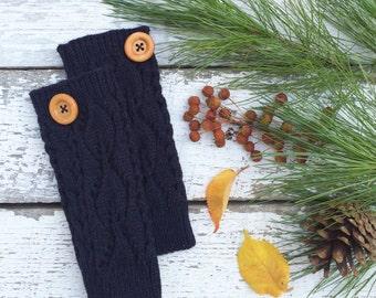 Fingerless Gloves, Knit Fingerless Gloves, Navy Blue Fingerless Gloves, Half Finger Gloves, Winter Gloves, Mittens, Stocking Stuffer