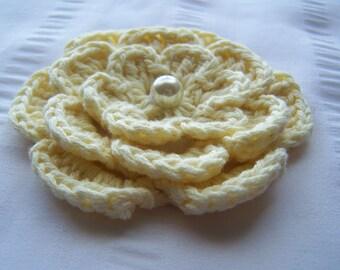 Crochet motif flower with bead 3 inch light yellow