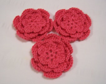Crochet flowers pink custom order for Ashley Watson 2.5 inch flowers