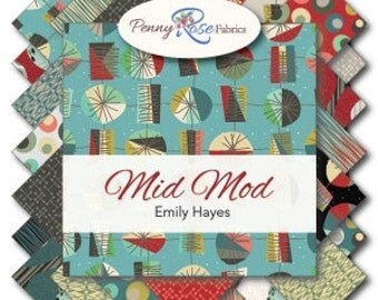 """Mid Mod 18 10"""" Stacker Squares precuts Layer Cake by Riley Blake 100% cotton fabric for quilting"""
