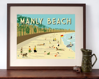 Retro Travel Poster Style Print of Manly Beach, Sydney