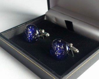 Cremation Jewellery - Glass Keepsake Cuff Links - Ashes to Jewellery - Made To Order