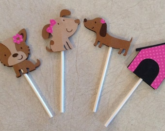 Puppy cupcake toppers - Birthday decorations, Party supplies