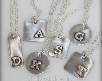 Necklace - Sterling Silver Initial Letter Monogram