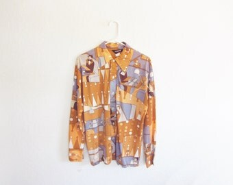 oh my heck BACKGAMMON . 1970 kitsch mens shirt . for the serious game enthusiast .medium .sale
