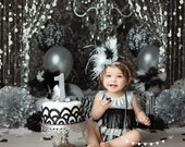 RESERVED  12 month flapper romper, Black, white and silver