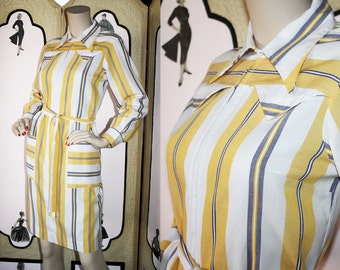 Vintage Western Shirt Dress by Skimma in Yellow, White and Navy. Medium.