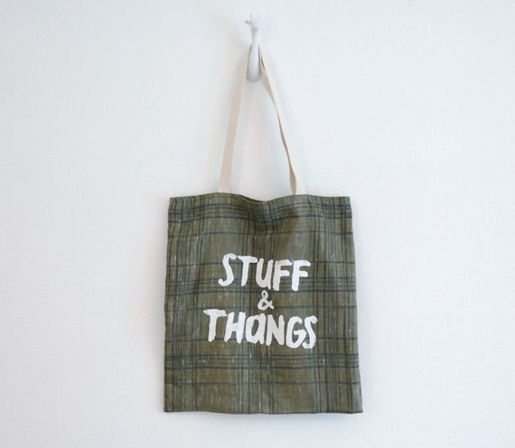 Stuff & Thangs Tote Bag - Plaid