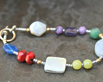 Mixed stones, Variety jades, mother of pearl, quartz, chalcedony, amethyst, seed bead variety, multi stone bracelet, mixed colors