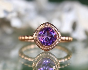 African Deep Purple Amethyst 14K Gold Ring, Gemstone Ring, Cushion Shape Ring, Eco Friendly, Engagement Ring, Stacking Ring - Made To Order