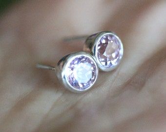 Kunite Sterling Silver Ear Studs, Birthstone, No Nickel / Nickel Free, Eco Friendly, Recycled Sterling - Made to Order