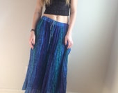 90s India Gauze Skirt BOHO Gypsy Maxi Skirt, Paper Thin, High Waist Circle SKirt, Circle Skirt Maxi, Blue, Hippie Skirt, Cotton Sheer
