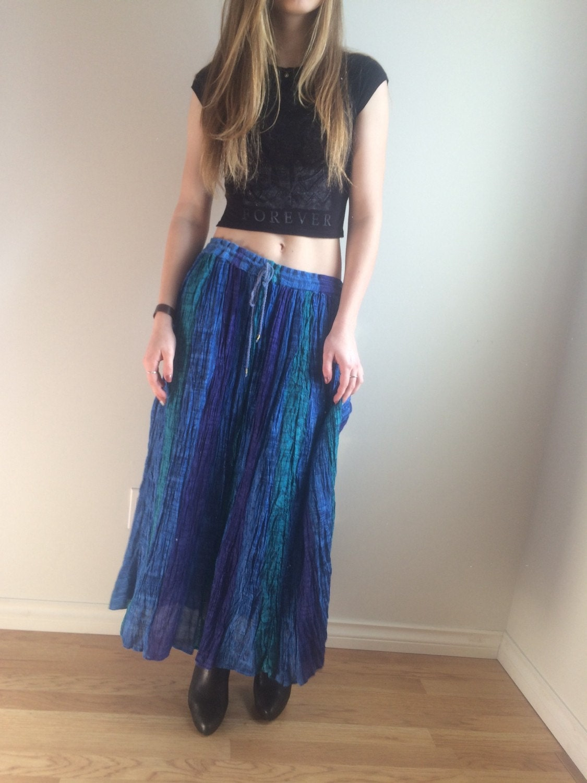 90s india gauze skirt boho maxi skirt paper thin high