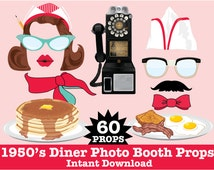 50s Photo Booth Props, Diner Party, Fifties Party, Rock n Roll Party, Sock Hop Party -  Instant Download PDF - 60 DIY Printable Props