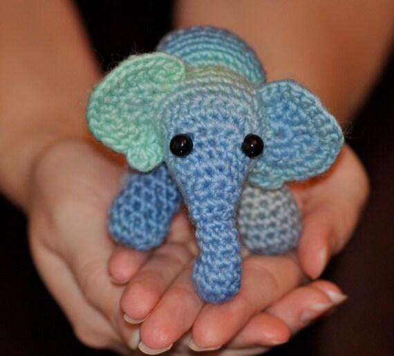 Small Amigurumi Baby Blue Elephant Hand Made Small Elephant