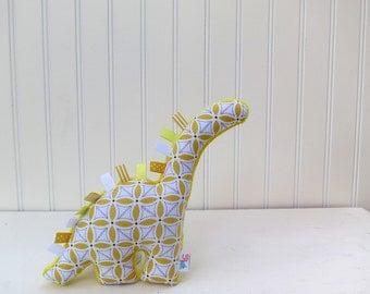 Yellow Plush Dinosaur Stuffed Animal Gray White Ready to Ship