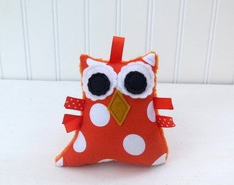 Plush Owl Rattle Baby Toy Orange Polka Dot