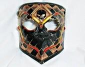 CUSTOM Masquerade Mask - Bauta Mask - Black and Bronze Mask - Mens Mask - Masquerade Ball Mask - Venetian Mask