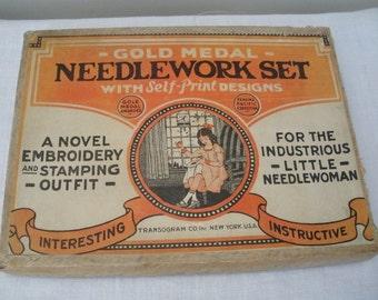 Antique Vintage Childs Needlework Embroidery Set