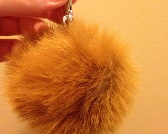 Pom Pom Keychain Made from Faux Fur, Bag Charm, Purse Charm, Caramel Beige Color, Puffball Keychain, Fall Gift Idea