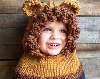 Kids Lion Hat, Kids Fall Winter Hat, Lion Costume, Lion Hoodie, Knit Cowl Lion, Animal Hat with ears, Knitted Lion Hood, Unique Kids Gift