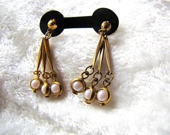 Vintage Gold Tone Faux Pearl Dangle Earrings