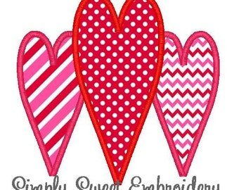 Three Hearts Valentine's Day Machine Embroidery Applique Design