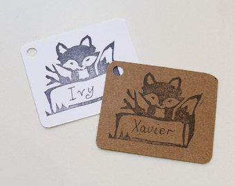 WOODLAND party favour tags, FOX gift tags, fox thank you tags, woodland favour bag tags,  X 10