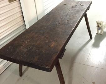 Primitive farm butcher table peg leg 23x77x28h