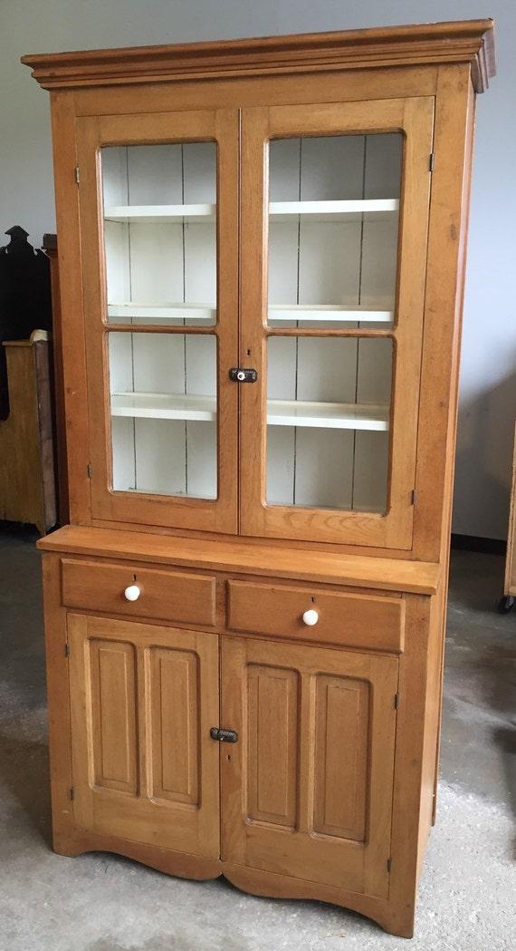 Exquisite Antique American Stepback Cupboard Cabinet 1 Piece