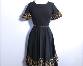 Vintage 50s Black Party Dress - 1950s Cha Cha Rockabilly Dress Sm - on sale