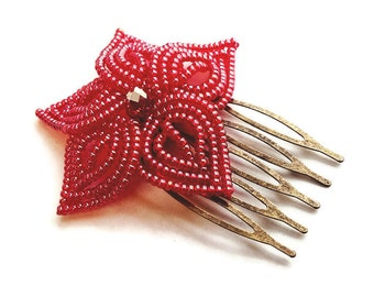 Cherry Red Bloom - French Beaded Flower Hair Comb