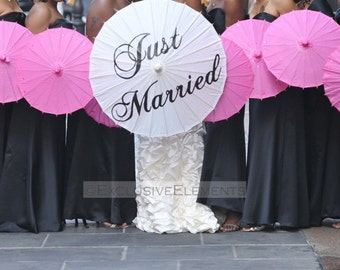 Wedding Just Married Parasol Custom Color Umbrella Ceremony Decor Pink Red Yellow Orange Turquoise Lavender Parasol Sign