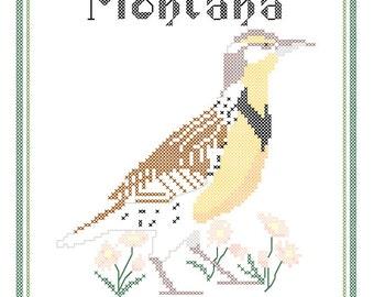 Montana State Bird, Flower and Motto Cross Stitch Pattern PDF