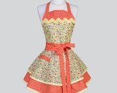 Ruffled Retro Apron , Fall Yellow Orange and Teal Floral Full Retro Cooking Womens Apron Ideal to Personalize