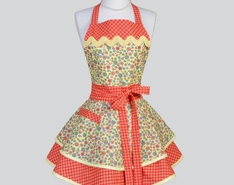 Ruffled Retro Aprons , Cute Vintage Kitchen Womans Apron in Fall Yellow Orange and Teal Floral Flirty Full Cooking Womens Apron Personalize